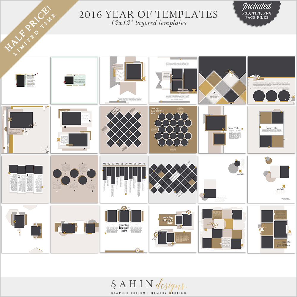 2016 Digital Scrapbook Layout Templates / Sketches - Sahin Designs