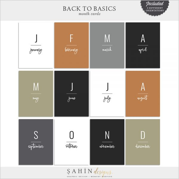 Back to Basics Printable Monthly Pocket Cards - Sahin Designs