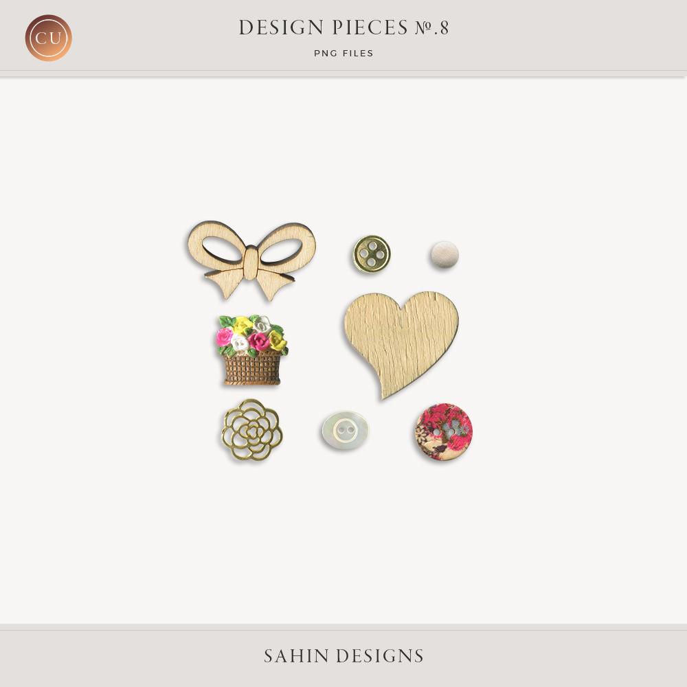 Design Pieces No-8 - Sahin Designs - CU Digital Scrapbook