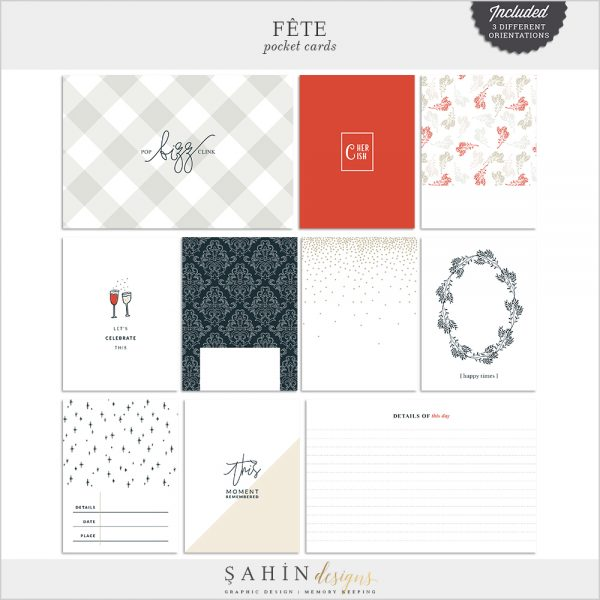Fête Digital Scrapbook Printable Pocket Cards - Celebrations Theme - Sahin Designs