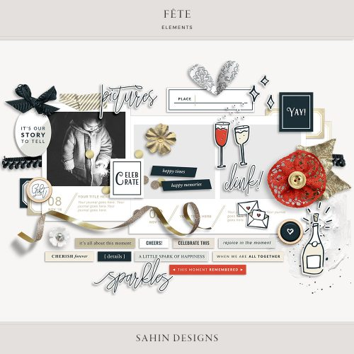 Fête Digital Scrapbook Elements - Celebrations Theme - Sahin Designs