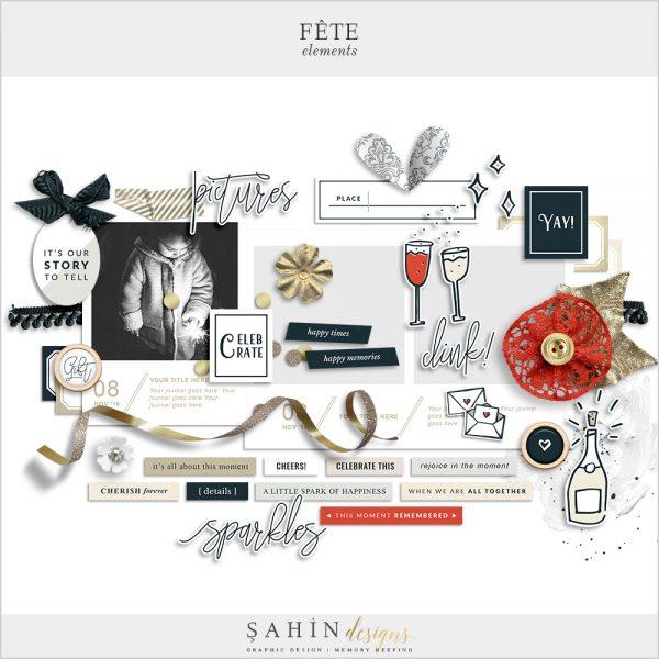 Fête Digital Scrapbook Elements Pack - Celebrations Theme - Sahin Designs
