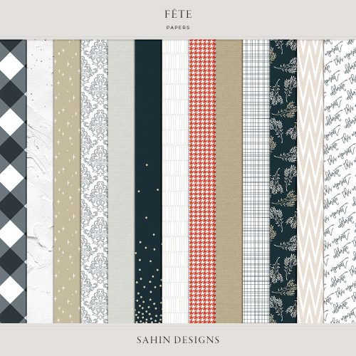 Fête Digital Scrapbook Papers - Celebrations Theme - Sahin Designs