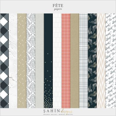 Fête Digital Scrapbook Papers Pack - Celebrations Theme - Sahin Designs