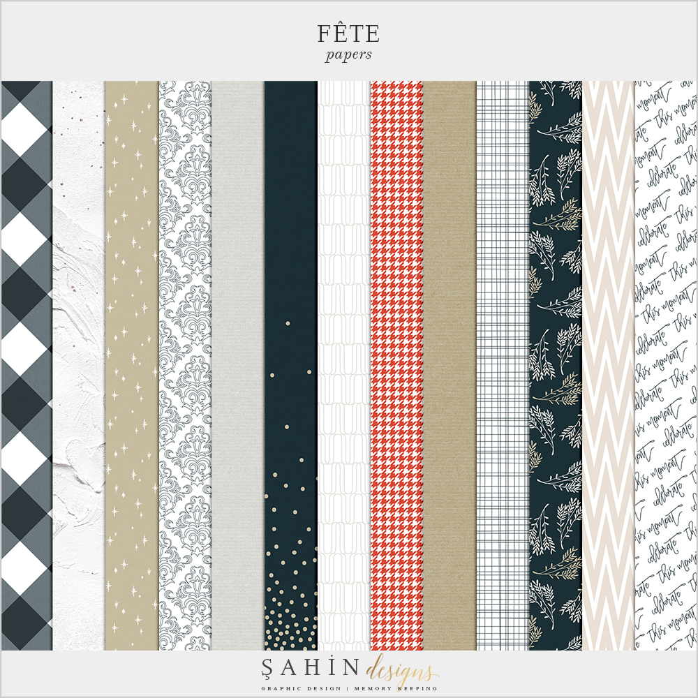 Fête Digital Scrapbook Papers Pack - Celebrations Theme - Sahin Designs
