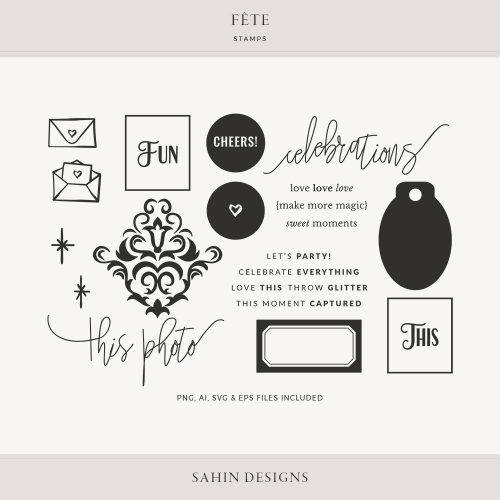 Fête Digital Scrapbook Stamp and Cut Files - Celebrations - Sahin Designs