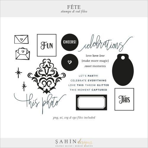 Fête Digital Scrapbook Stamp and Cut Files - Celebrations Theme - Sahin Designs