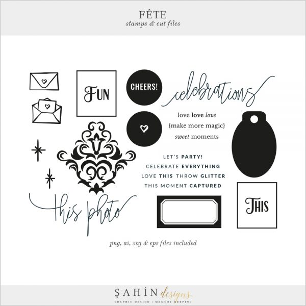 Fête Digital Scrapbook Stamp and Cut Files - Celebrations Theme - Sahin Designs