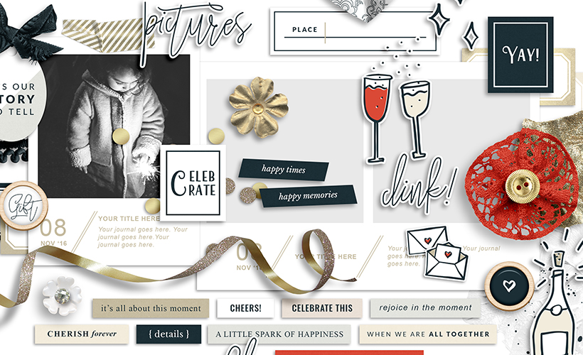 Fete Digital Scrapbook Collection & Celebration Scrapbook Layouts - Sahin Designs