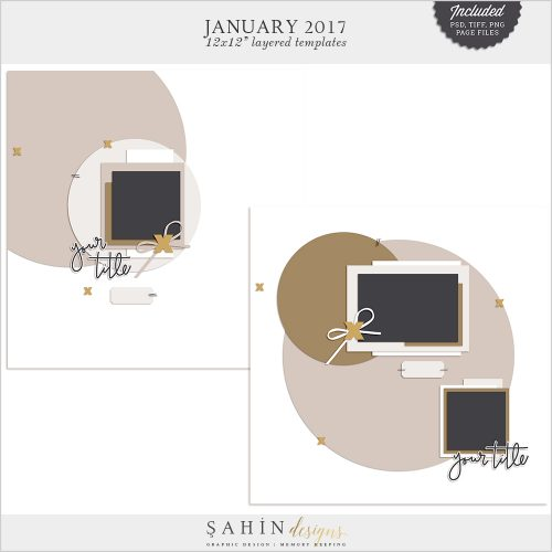 January 2017 Digital Scrapbook Layout Templates/Sketches - Sahin Designs