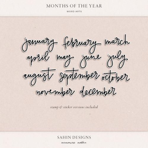 Handwritten Months Word Art - Sahin Designs - Digital Scrapbook