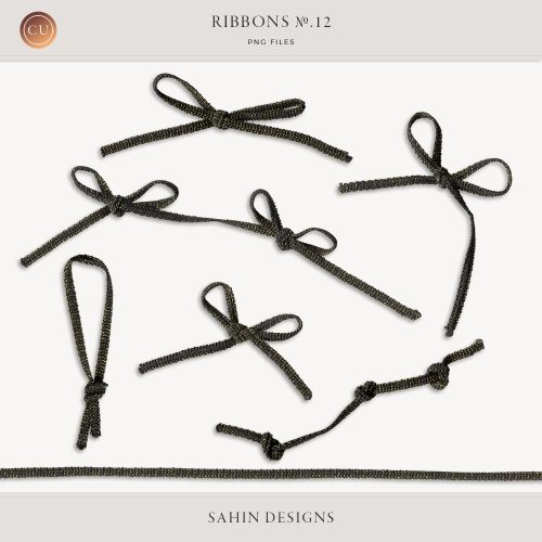 Extracted Black Glittery Ribbons - Sahin Designs - CU Digital Scrapbook