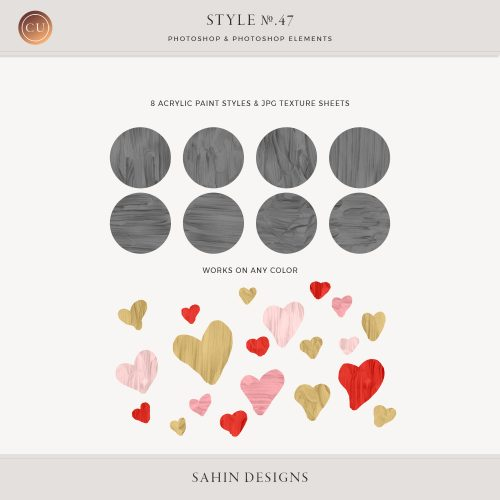 Acrylic Paint Photoshop Layer Styles - Sahin Designs - CU Digital Scrapbook