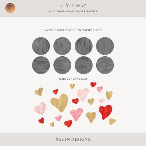 Acrylic Paint Photoshop Layer Styles - Sahin Designs - CU Digital Scrapbook