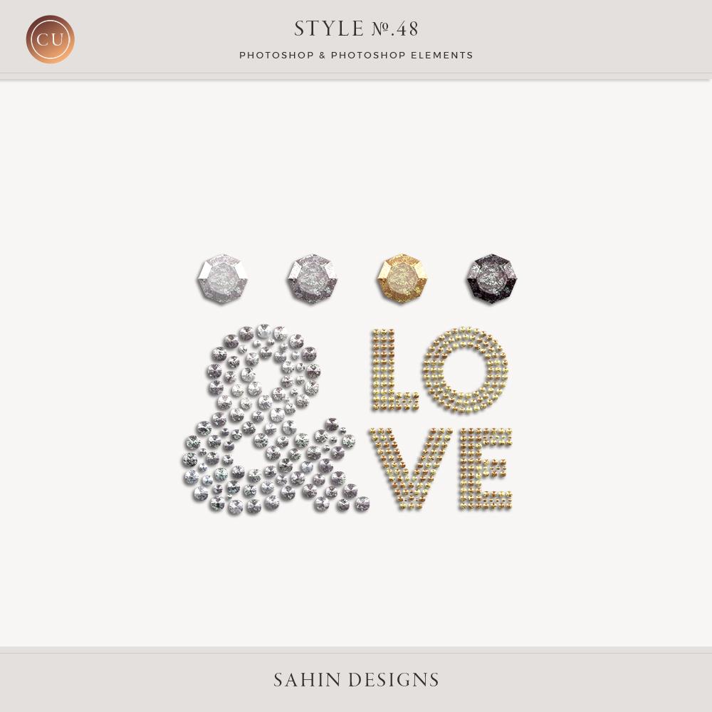 Diamond Photoshop Layer Styles - Sahin Designs - CU Digital Scrapbook