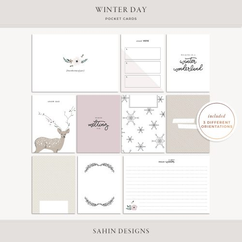 Winter Day Printable Pocket Cards - Sahin Designs