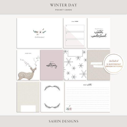 Winter Day Printable Pocket Cards - Sahin Designs