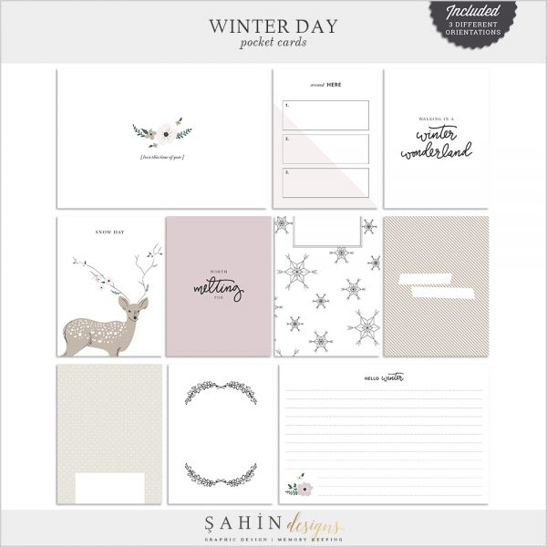 Winter Day Digital Scrapbook Pocket Cards - Sahin Designs