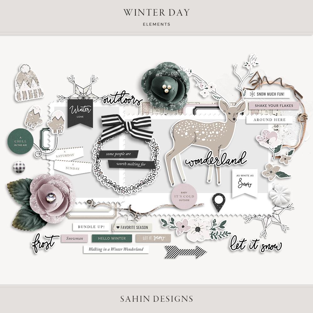 Winter Day Digital Scrapbook Elements - Sahin Designs
