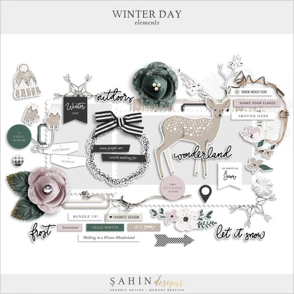 Winter Day Digital Scrapbook Elements - Sahin Designs