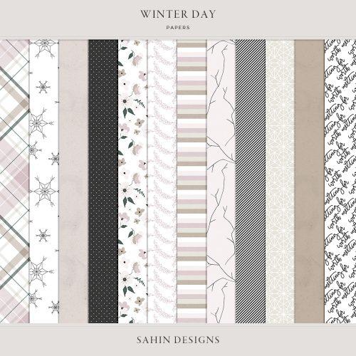 Winter Day Digital Scrapbook Papers - Sahin Designs