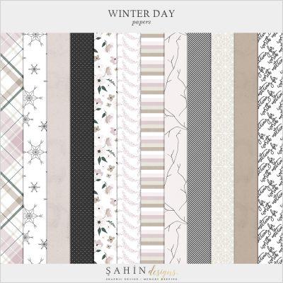 Winter Day Digital Scrapbook Papers - Sahin Designs - Digital Pattern