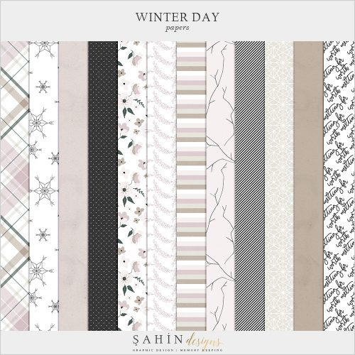 Winter Day Digital Scrapbook Papers - Sahin Designs - Digital Pattern
