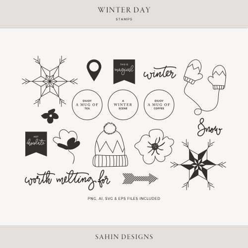 Winter Day Digital Scrapbook Stamps - Sahin Designs