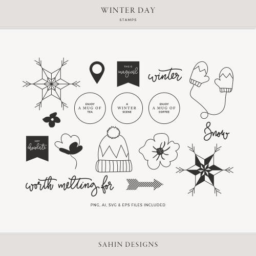 Winter Day Digital Scrapbook Stamps - Sahin Designs