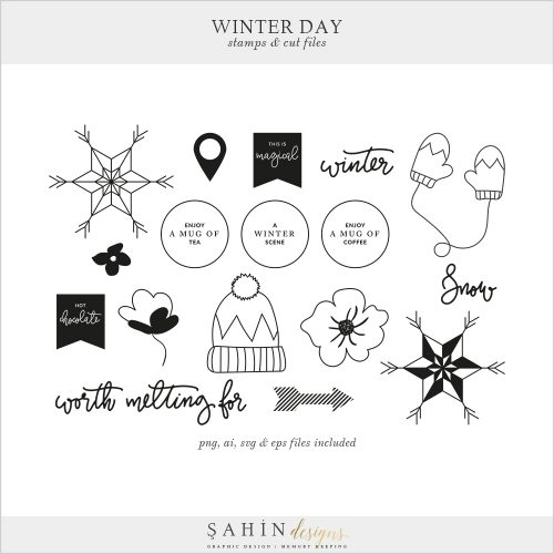 Winter Day Digital Scrapbook Stamps & Cut Files - Sahin Designs