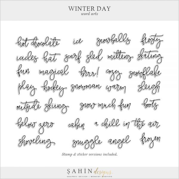 Winter Day Digital Scrapbook Word Arts - Sahin Designs - Handwritten Winter Sayings