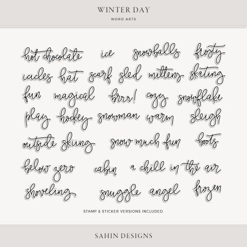 Winter Day Digital Scrapbook Word Arts - Sahin Designs