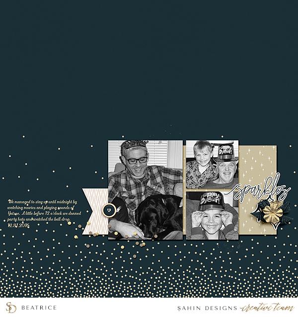 New Year Digital Scrapbook Layout - Sahin Designs