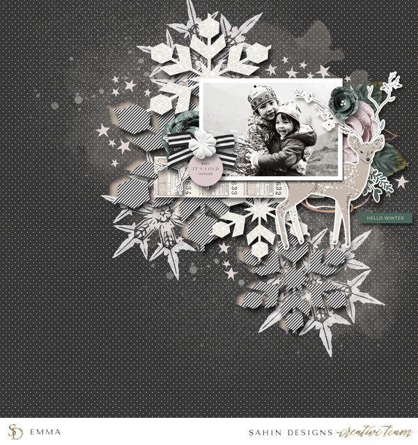 Winter Scrapbook Layout Inspiration - Sahin Designs
