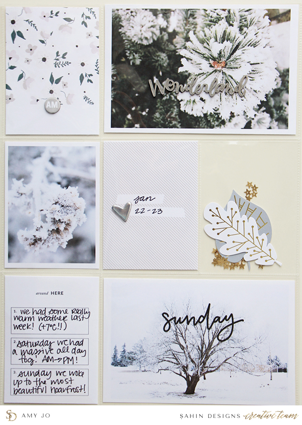Winter Pocket Scrapbook Layout Inspiration - Sahin Designs - Project Life