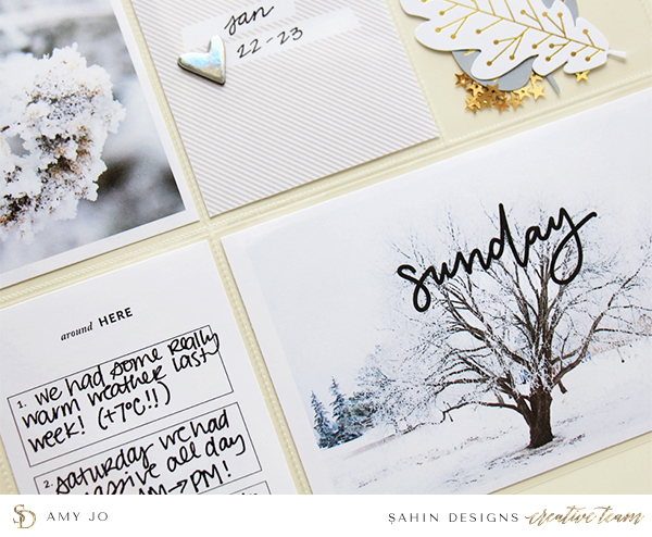 Winter Pocket Scrapbook Layout Inspiration - Sahin Designs - Project Life