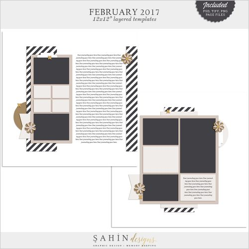 February 2017 Digital Scrapbook Layout Templates / Sketches - Sahin Designs
