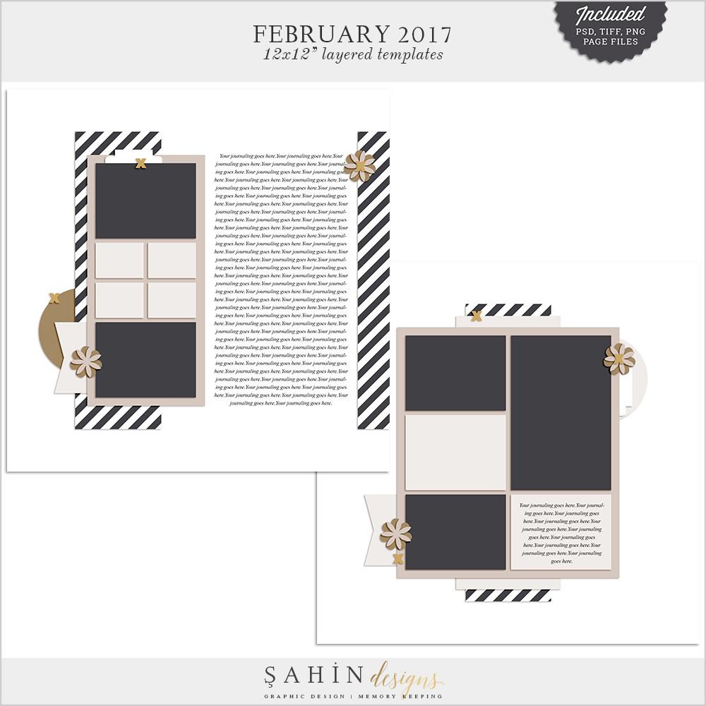 February 2017 Scrapbook Layout Templates / Sketches - Sahin Designs
