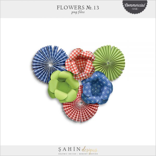 Extracted Paper Flowers for Commercial Use Digital Scrapbooking - Sahin Designs