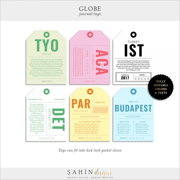 Globe Vintage Travel Tags for Journaling - Pocket Scrapbooking - Sahin Designs