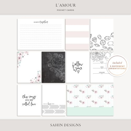 L'amour Digital Scrapbook Pocket Cards - Sahin Designs - Project Life