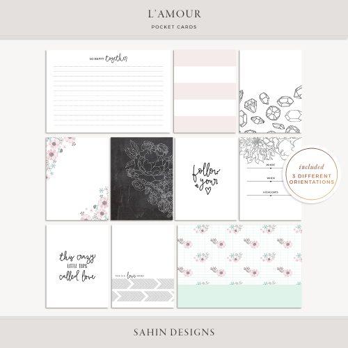 L'amour Digital Scrapbook Pocket Cards - Sahin Designs - Project Life