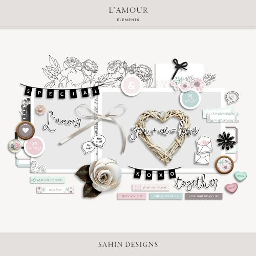 L'amour Digital Scrapbook Elements - Sahin Designs
