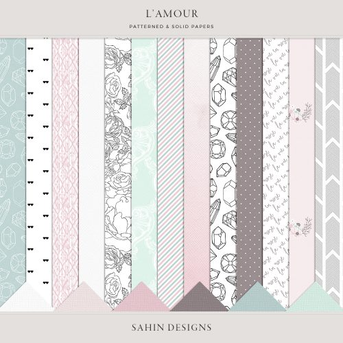 L'amour Digital Scrapbook Papers - Sahin Designs - Digital Pattern