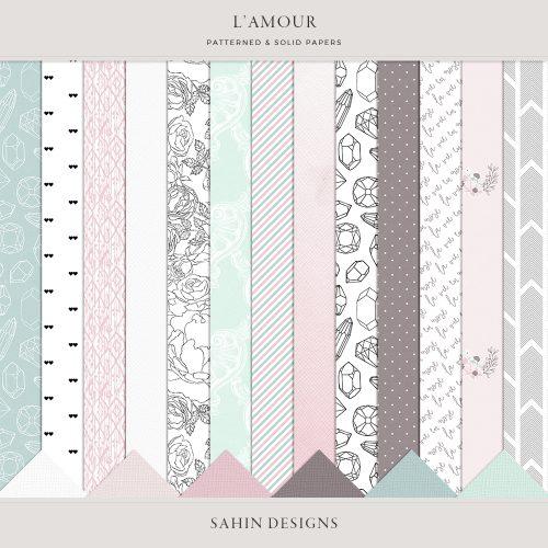 L'amour Digital Scrapbook Papers - Sahin Designs - Digital Pattern