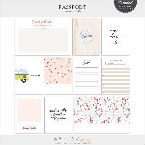 Passport Digital Scrapbook Pocket Cards - Sahin Designs - Travel Theme - Project Life