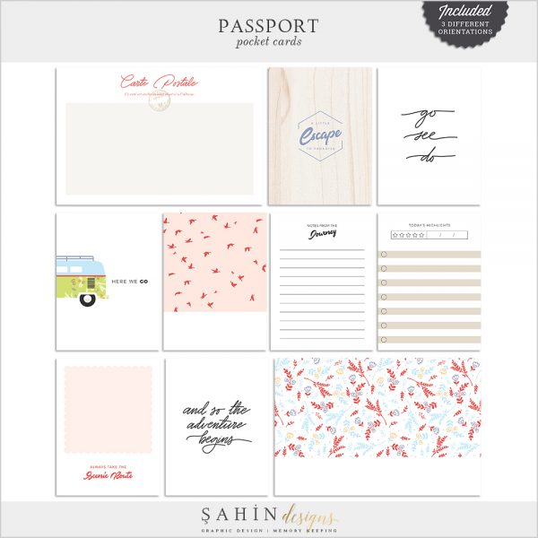 Passport Digital Scrapbook Pocket Cards - Sahin Designs - Travel Theme - Project Life