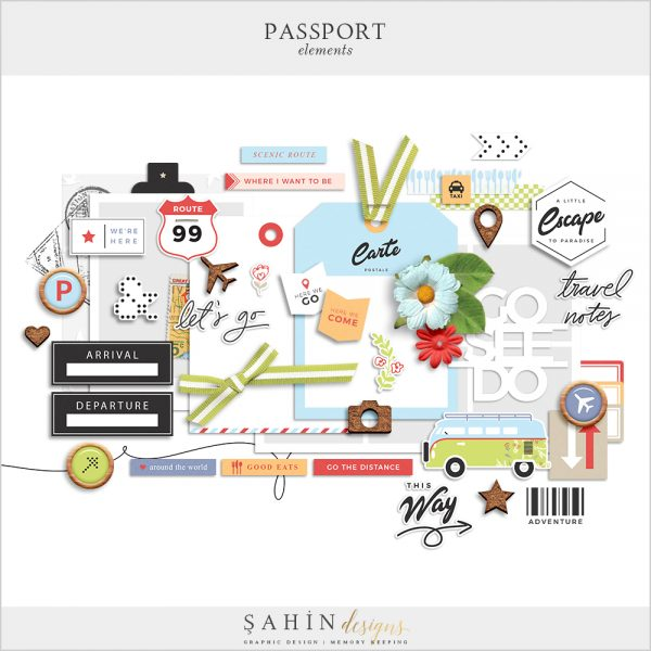 Passport Digital Scrapbook Elements - Sahin Designs - Travel Theme