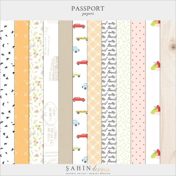 Passport Digital Scrapbook Papers - Sahin Designs - Travel Theme - Digital Pattern