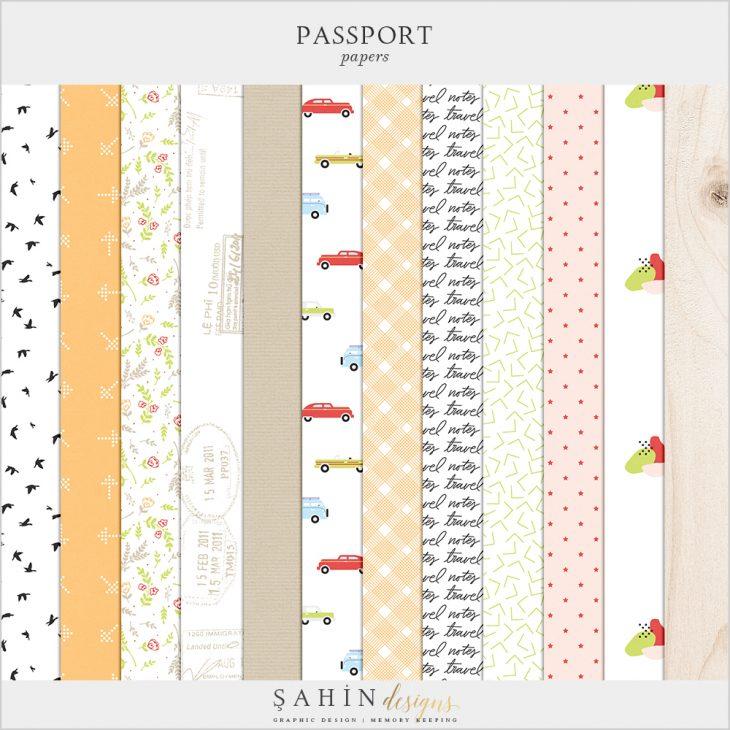Passport Digital Scrapbook Papers - Sahin Designs - Travel Theme - Digital Pattern